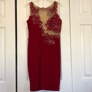 Red Midi Dress with Silver Stones